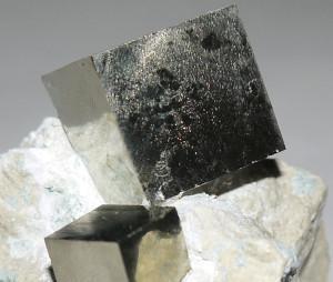 Pyrite Cubes on Matrix